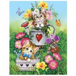 Вышивка лентами 'Котята', 35 x 45 см
