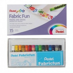 Пастель для ткани Pentel FabricFun Pastels, 15 цветов, 8/60 мм