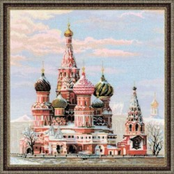 Вышивка крестом 'Москва, Собор Василия Блаженного' 40х40 см