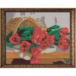 'Тюльпаны' 38х30см набор на атласе для вышивания чешским бисером 'Вышивочка' ВЛ-008П