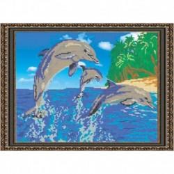 «Светлица» набор для вышивания бисером №021 «Дельфины» бисер Чехия 35,9х26,4см