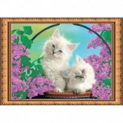 «Светлица» набор для вышивания бисером №046 «Коты» бисер Чехия 35х25см