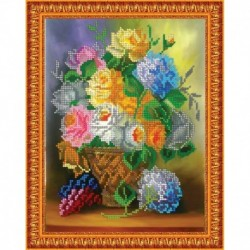 «Светлица» набор для вышивания бисером №180 «Цветы в вазе» бисер Чехия 24x19см