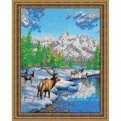 «Светлица» набор для вышивания бисером №361 «Олени зимой» бисер Чехия 25,2x31,1см