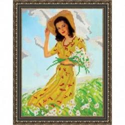 «Светлица» набор для вышивания бисером №150 «Девушка с ромашками» бисер Чехия 19x24см