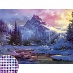 Алмазная вышивка с частичным заполнением 'Зима' 30x40 см, холст, емкость