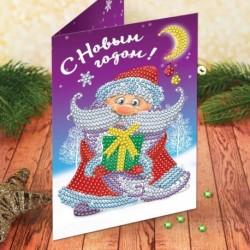 Алмазная вышивка на открытке 'Дед Мороз' + емкость, стержень с клеевой подушечкой