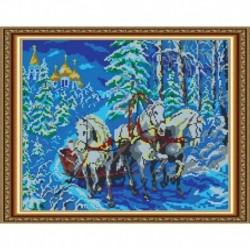 «Светлица» набор для вышивания бисером №551П «Тройка лошадей» бисер Чехия 30x38 см