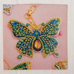 Алмазная вышивка-брелок 'Бабочка-красавица' заготовка: 9x7 см