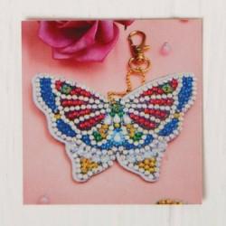 Алмазная вышивка-брелок 'Бабочка' заготовка: 7x9 см