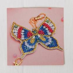 Алмазная вышивка-брелок 'Прелестная бабочка' заготовка: 7,5x8 см
