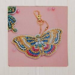 Алмазная вышивка-брелок 'Милая бабочка' заготовка: 9x5 см