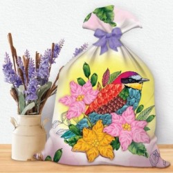 Вышивки лентами на мешочке 'Птица', 35 x 25 см