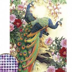 Алмазная вышивка с частичным заполнением «Павлины», 30x50 см, 26 цветов страз