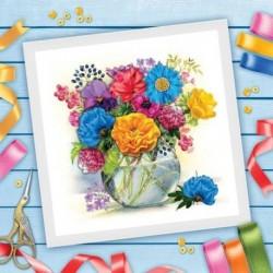 Вышивка лентами 'Ваза с цветами', 35x35 см