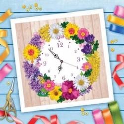 Вышивка лентами 'Часы из цветов', 35x35 см