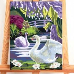 Роспись по номерам без подрамника и алмазная вышивка 'Лебедь', 30x40 см