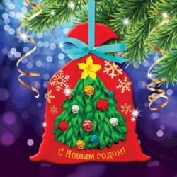 Новогодняя вышивка лентами на мешочке 'Ёлочка', основа 25x35 см