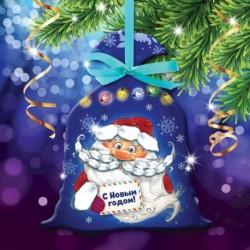 Новогодняя вышивка лентами на мешочке 'Дед Мороз', основа 25x35 см