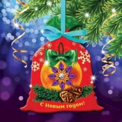 Новогодняя вышивка лентами на мешочке 'Елочный шар', основа 25x35 см