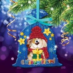 Новогодняя вышивка лентами на мешочке 'Собачка', основа 25x35 см