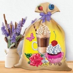 Вышивка лентами на мешочке 'Приятного чаепития', 35x25 см