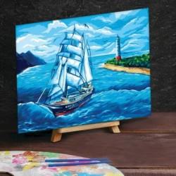 Картина по номерам на холсте 30x40 см «Парусник в море»
