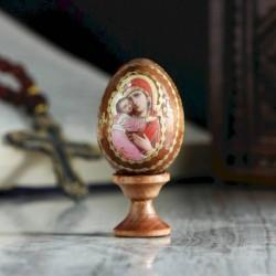 Яйцо сувенирное 'Богоматерь Владимирская', на подставке