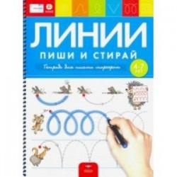 Пиши и стирай. Линии. Тетрадь для письма маркером для детей 4-7 лет. ФГОС ДО