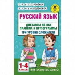 Русский язык. 1-4 классы. Диктанты на все правила и орфограммы. Три уровня сложности