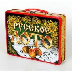 Русское лото в жестяном чемоданчике 'Русские узоры'