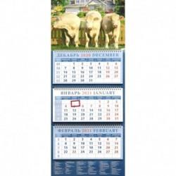 Календарь квартальный на 2021 год 'Год быка. Три богатыря' (14120)