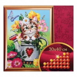 Алмазная вышивка с частичным заполнением «Котята», 30x40 см. Набор для творчества