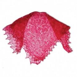 Платок Пуховый платок ручной работы паутинка малиновая, 130x130 см