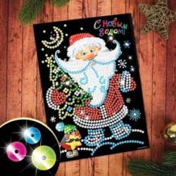 Набор для творчества. Новогодняя аппликация пайетками на клеевом слое «Дедушка Мороз» 21x29,7 см