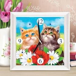 Картина по номерам - часы «Котята», 30x30 см