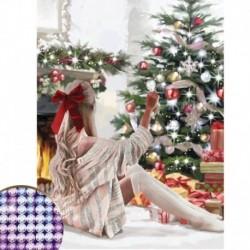 Алмазная вышивка с частичным заполнением «Девушка у ёлки», 30x40 см, холст, ёмкость. Набор для творчества
