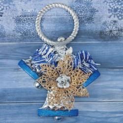 Украшение ёлочное 'Колокольчик тройной с цветком' 12x16,5 см серебристо-синий