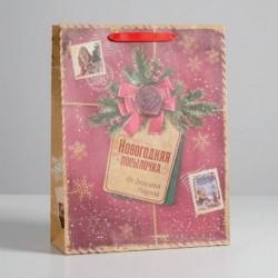 Пакет крафтовый вертикальный «Новогодняя посылочка от Дедушки Мороза», L 31x40x9 см
