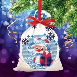 Новогодняя вышивка крестиком на мешочке 'Дед Мороз', основа 25x35 см