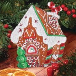 Новогодняя игрушка из фетра с вышивкой бисером 'Пряничный домик'