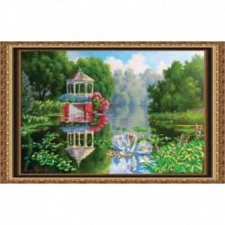 «Светлица» набор для вышивания бисером №124 «Лебеди» бисер Чехия 48,2x30,5см