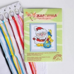 Набор для вышивания крестиком «Санта с подарками» 15x10 см