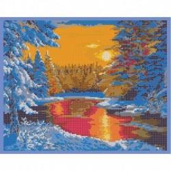 'Зимний пейзаж' 30x24см набор для вышивания чешским бисером 'Вышивочка' ВЛ-213П