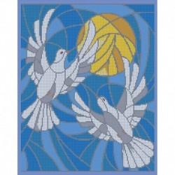 'Витражные голуби' 30x38см набор для вышивания чешским бисером 'Вышивочка' ВЛ-218П