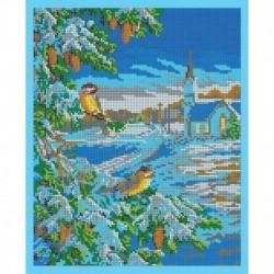 'Зимние птицы' 24x30см набор для вышивания чешским бисером 'Вышивочка' ВЛ-115П