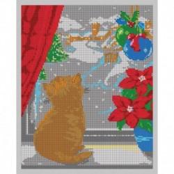 'Котёнок в окне' 24x30см набор для вышивания чешским бисером 'Вышивочка' ВЛ-110П