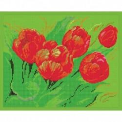 'Тюльпаны' 24x30см набор для вышивания чешским бисером 'Вышивочка' ВЛ-140П