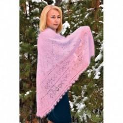 Платок Пуховый ручной работы светло розовый, 1.30, 130x130 см