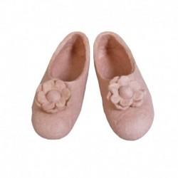 Тапочки войлочные розовые с цветком. Размер 40